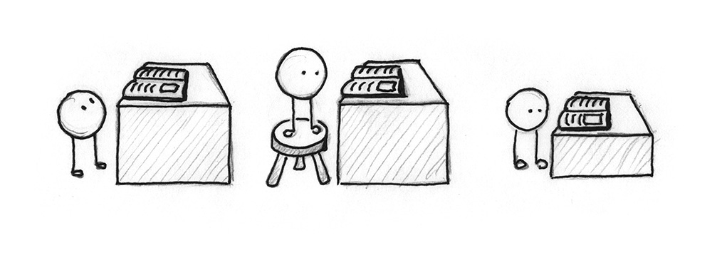 Illustration 1: A small being can not see a book on a high table. Illustration 2: A small being can see a book on a high table, as it stands on a stool. Illustration 3: A small being can see a book on a low table.
