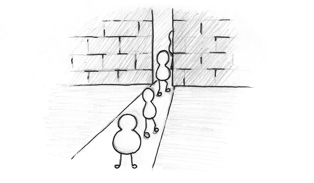 Illustration: A barrier with individuals passing thorugh it. One individual cannot pass it because of the way it is built.
