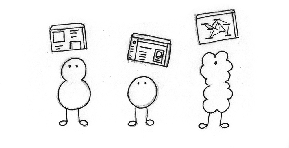 Illustration: A community of different beings, everyone contributing an interface.