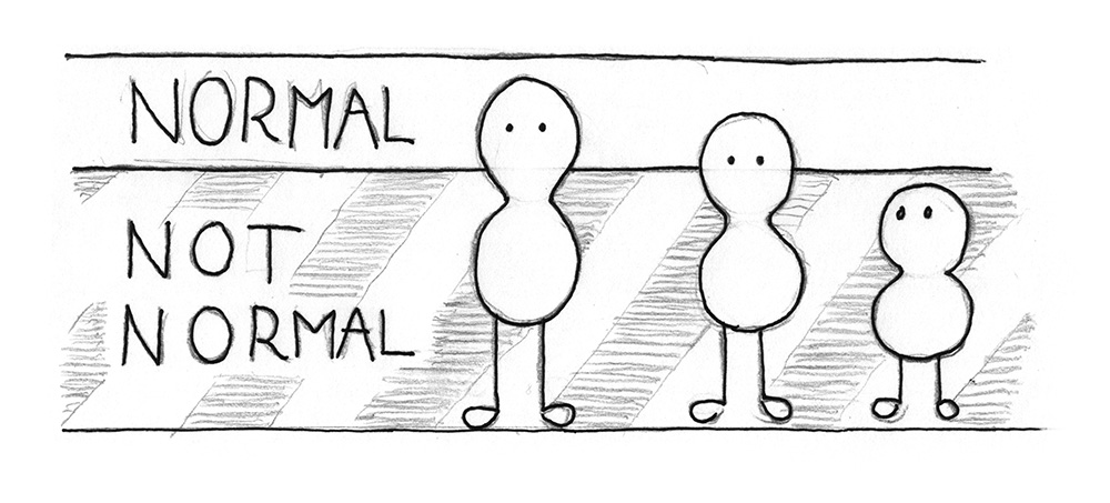 Illustration: 3 beings that differ in height. A line in the background defines which height is still normal. The smallest beings height is lower than that line.