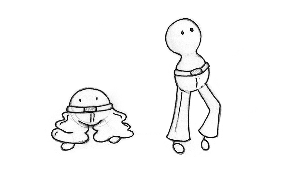 Illustration: 2 beings, that both wear the same size of pants. For one being it is way too big, for the other one it fits well.