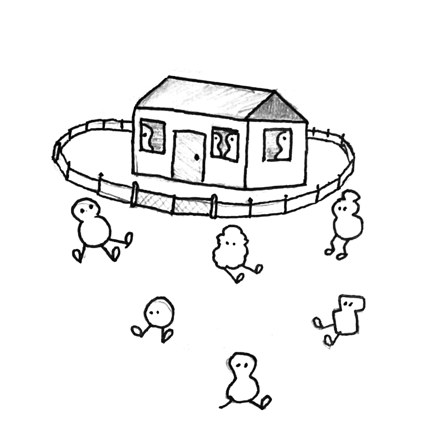 Illustration: A house  with similar beings are inside. Beings that are different sit in front of it.
