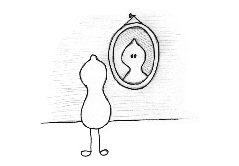 Illustration: A being looks at itself in the mirror.