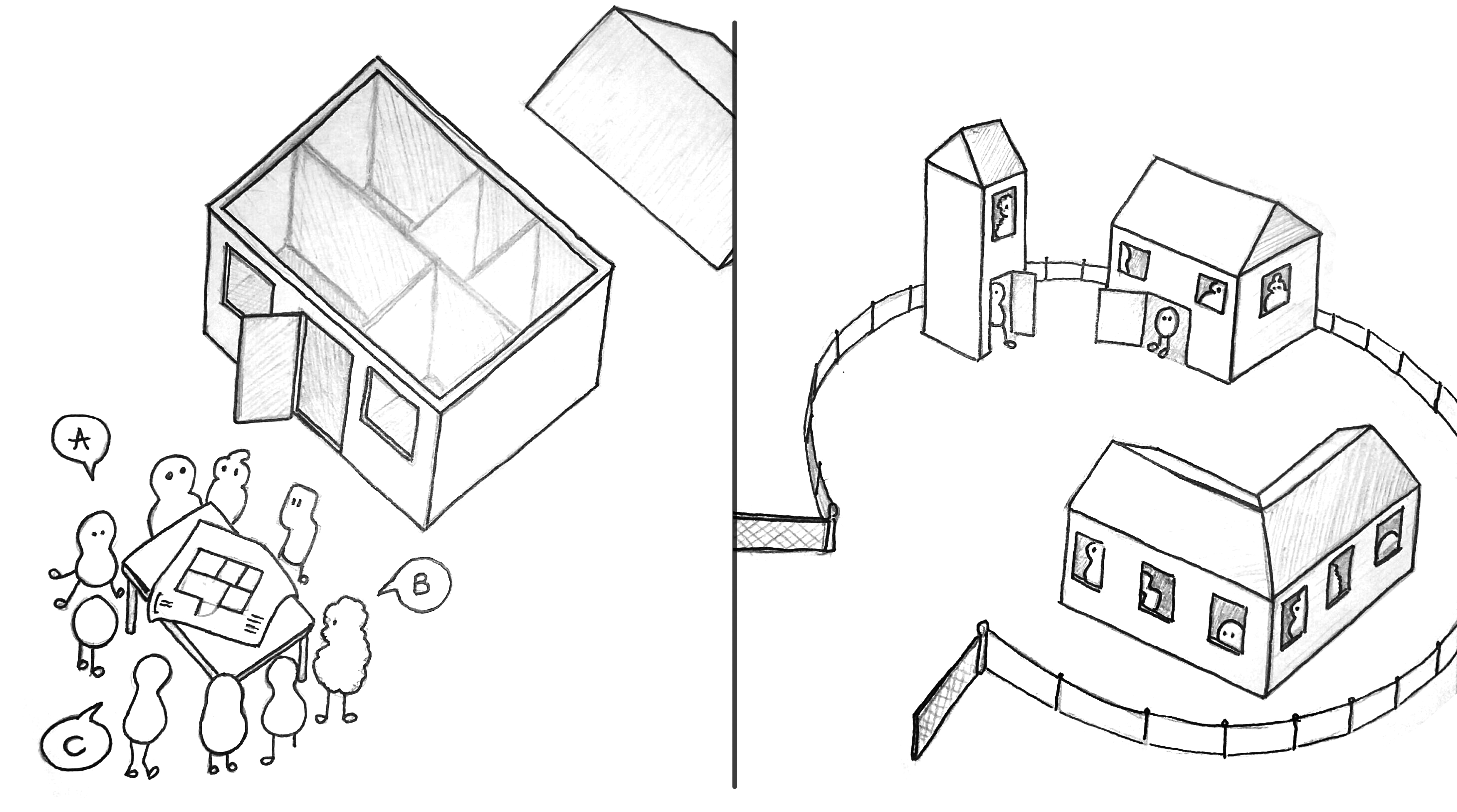 Illustration 1: All beings look together at how the house is built. Illustration 2: There are now different houses that fulfil everyones needs.