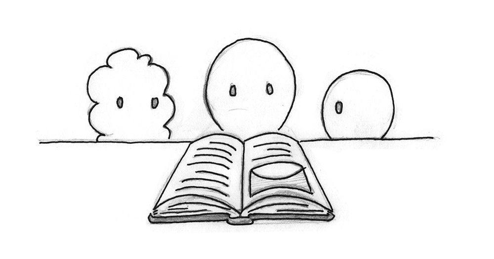 Illustration: Different young beings looking at a book together.