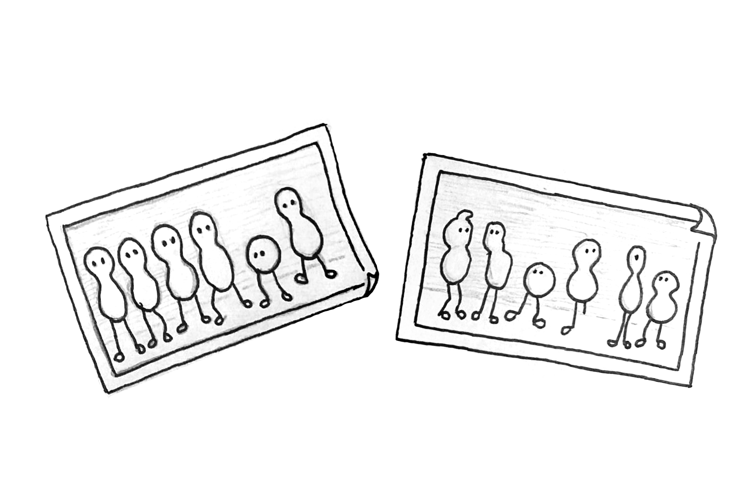 Illustration: Two images, one showing 5 beings that are alike and one that is different, the other one showing 6 different beings.