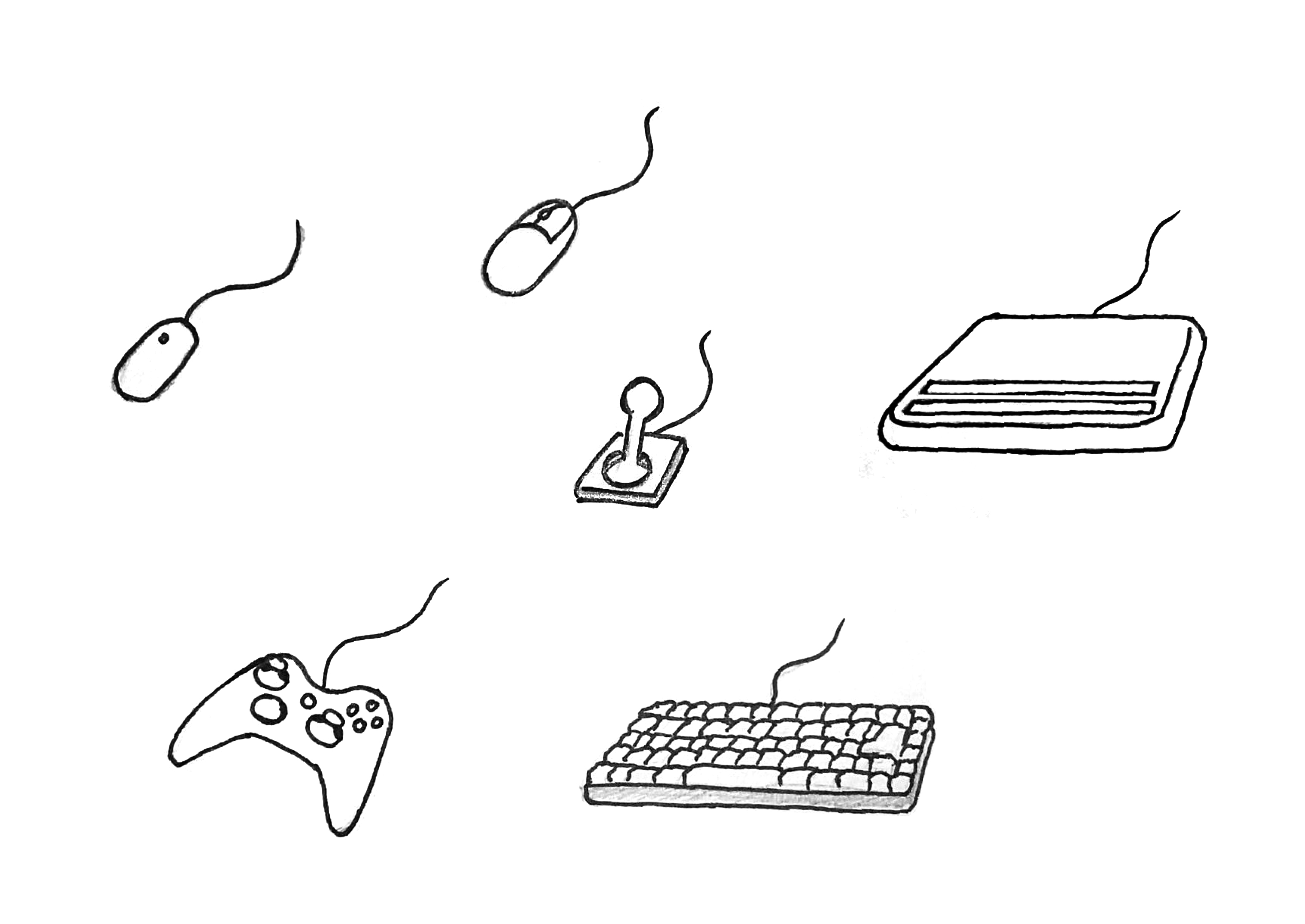 Illustration: 2 different mouses, a keyboard, a refreshable braille display, a gamepad and a joystick.