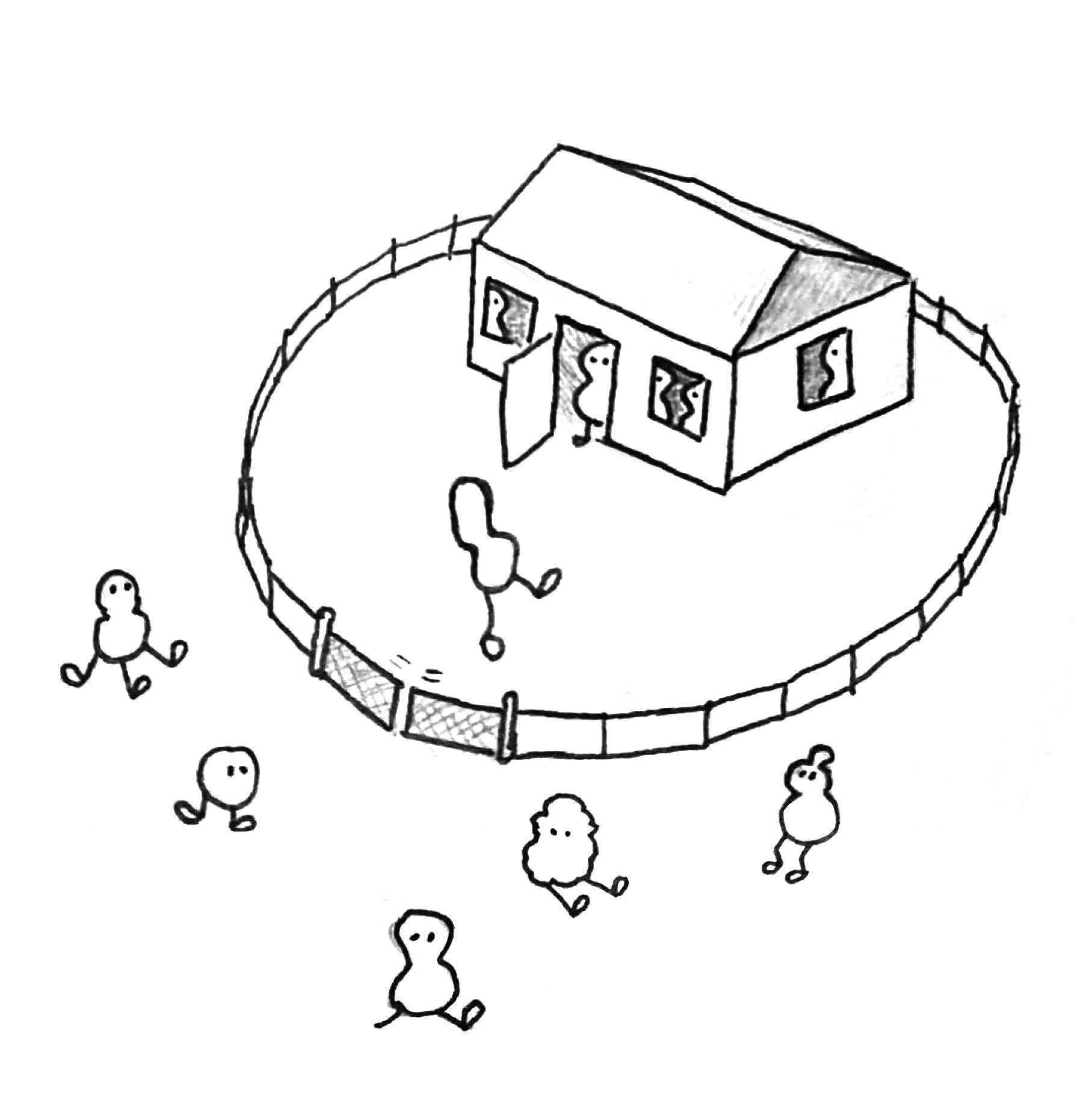 Illustration: A house  with similar beings are inside. Beings that are different sit in front of it. One of them is aloud to come inside.