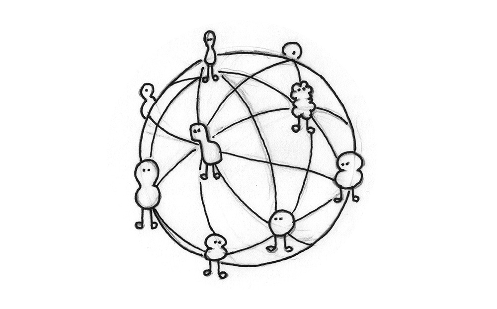 Illustration: A globe on which many different beings are connected.