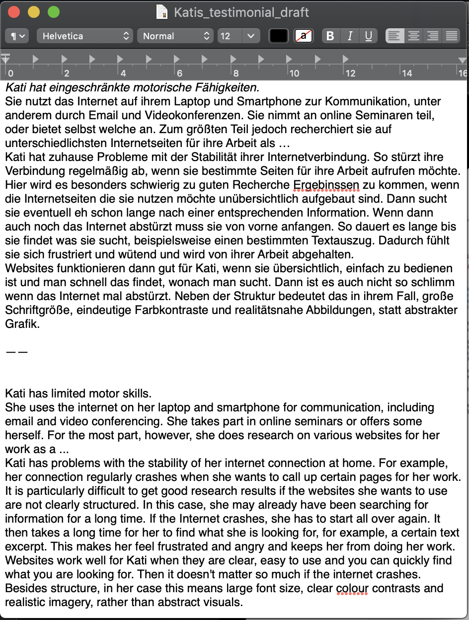 Screenshot of a text document containing a draft for a testimonial.