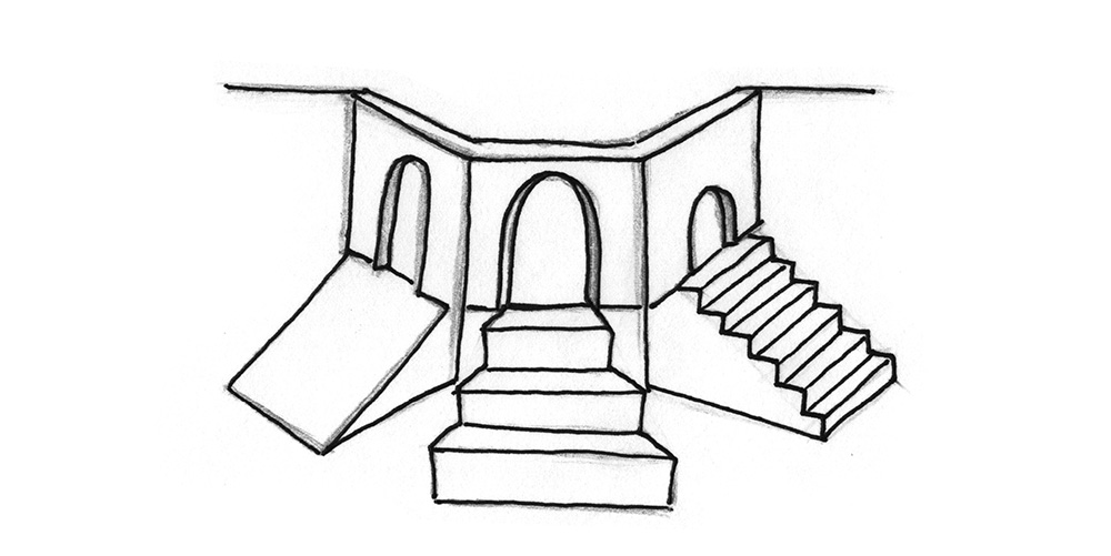 Illustration: Three sperate entrances leading to the same place. One entrance has a ramp, one has tall stairs, one has low stairs.