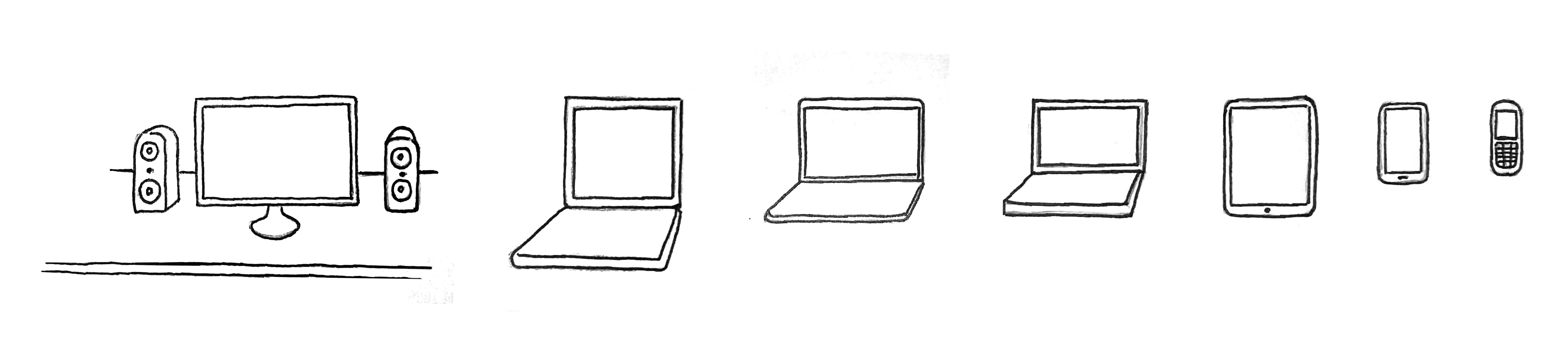 Illustration: A desktop computer, three different laptops, a tablet, a smartphone and a cellphone.