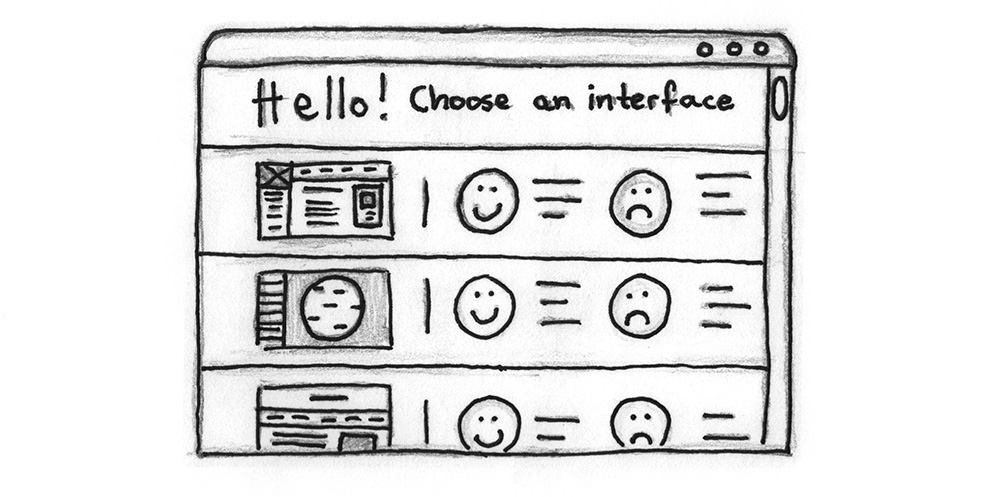 Illustration: A selection screen that shows several interface options, their pros and cons.